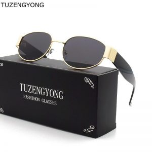 TUZENGYONG Small Frame Classic Punk Sunglasses Brand Designer Sunglasses Men Oval Vintage Sun Glasses for Women UV400 Oculos