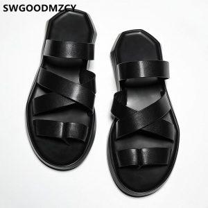 Slides Men Flip Flops Slippers Leather Slippers Casual Gladiator Sandals For Men Outdoor Slippers Designer Shoes Men Pantuflas