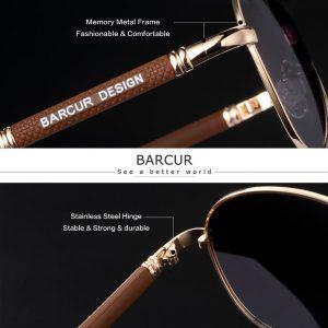 BARCUR Design Titanium Alloy Sunglasses Polarized Men's Sun Glasses Women Pilot Gradient Eyewear Mirror Shades Oculos De Sol