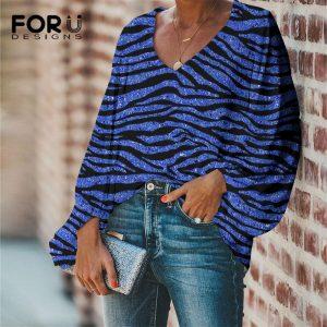 FORUDESIGNS Chiffon Clothing for Ladies Fashion Blue Zebra Stripes Print Women Spring Autumn Casual Sexy V-neck Long Sleeve Tops