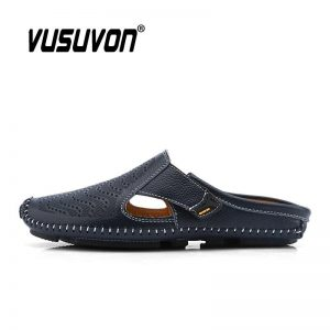 2020 Men Slippers Loafers Genuine Leather Business Driving Shoes Outdoor Autumn Men's Flats Breathable Casual Mules for Man