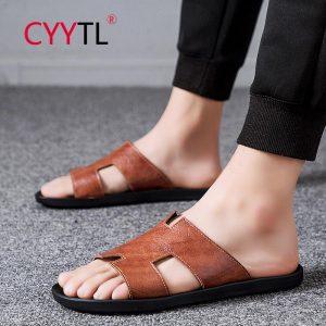 CYYTL Casual Famous Brand Men Sandals Shoes Slippers Flip Flops Beach Men Shoes Leather Soft Sandalias Para Hommes Chaussures