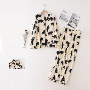 2020 Cartoon Printing Pajamas Sets for Women 100%Cotton Long sleeve Home Nightclothes Sleep Wear Pijama Clothing Pant Kit