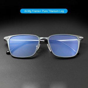 Pure Titanium+Aluminum-Magnesium Anti Blue Ray Computer Glasses Frame Men Square Myopia Optical Prescription Eyeglass A6128