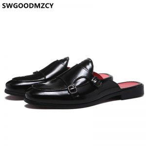 Half Shoes For Men Mule Masculino Leather Shoes Men Coiffeur Designer Men Shoes Luxury Brand Zapatos De Hombre Casuales Cuero