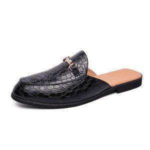 crocodile shoes men leather coiffeur half shoes for men slide slipper brand designer italian mens casual shoes hot sale ayakkabi