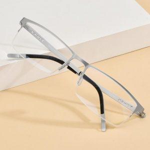 FONEX Alloy Glasses Frame Men Square Myopia Prescription Optical Eyeglasses 2020 New Metal Half Korean Screwless Eyewear 992