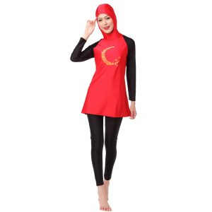 Muslim Swimwear Women Islamic Hijab Hooded Swim Wear Burkini 2 Piece Suit Hijab Swimsuit Modest Swim Surf Wear Sport Burkinis