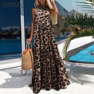 ZANZEA Fashion Leopard Print Maxi Dress Sexy Women's Halter Sundress Sleeveless Beach Ruffle Vestido Female Long Robe Plus Size