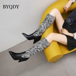 BYQDY Knee High Woman Boots Pointed Toe Zebra Spike Heel Shoes Plus 41-48 Autumn Winter Warm Riding Western Boots For Tall Girl