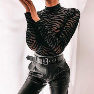 Zoulv 2021 Black Zebra Print Jumpsuit Briefs Dark Fashion High Neck Tight-fitting Bottoming Shirt Metal Gothic Sexy Ladies Tops