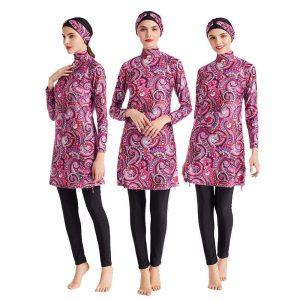Middle East Conservative Swimsuit Trade Digital Printing Slim Three-piece Plus Size Women's Split Beach Suit Muslim Sets Hijab