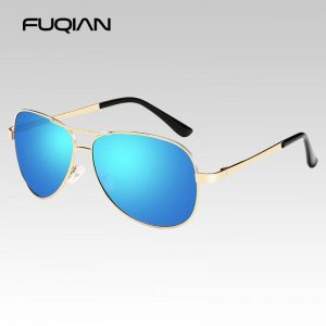 FUQIAN Classic Pilot Polarized Sunglasses Men Women Fashion Metal Sun Glasses Mirror Blue Shades Driving Eyeglasses UV400