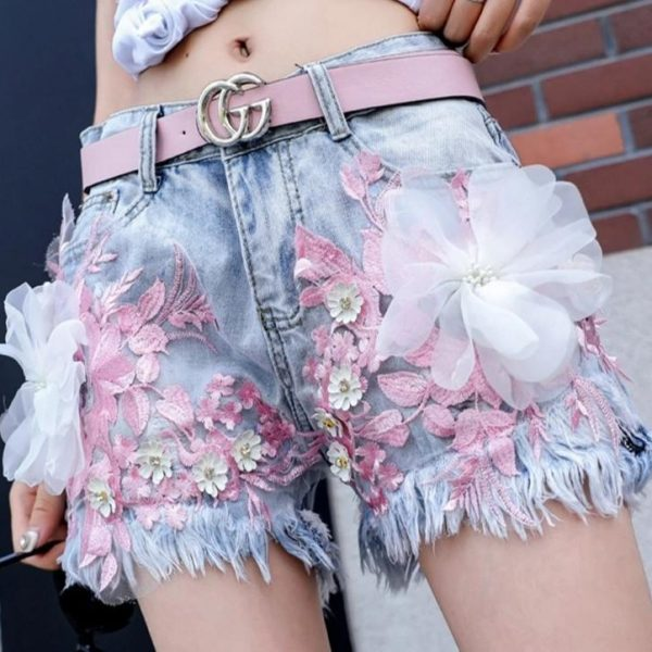 short femme ete 2020 Fashion Embroidery Lace Bead Flower Slim Denim Shorts Personality Summer Hot