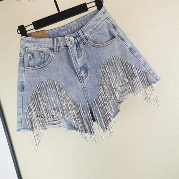 Rebicoo Summer European Style High Quality Diamond Tassels Denim Shorts Woman Fashion High Waist Jeans Shorts