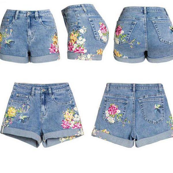 Big Size Stretch Floral Embroidery Denim Shorts Women With Mid Waist skinny Crimping Summer Elasticity Denim Shorts Plus Size 95