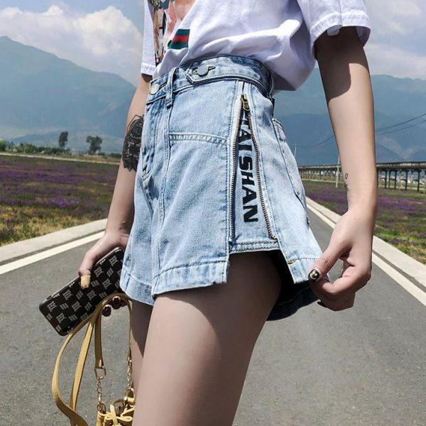 Shorts Women Summer Denim High-waist Fake Zippers Letter-printed Buttons Street Wear Womens A-line All-match Ulzzang Chic Casual