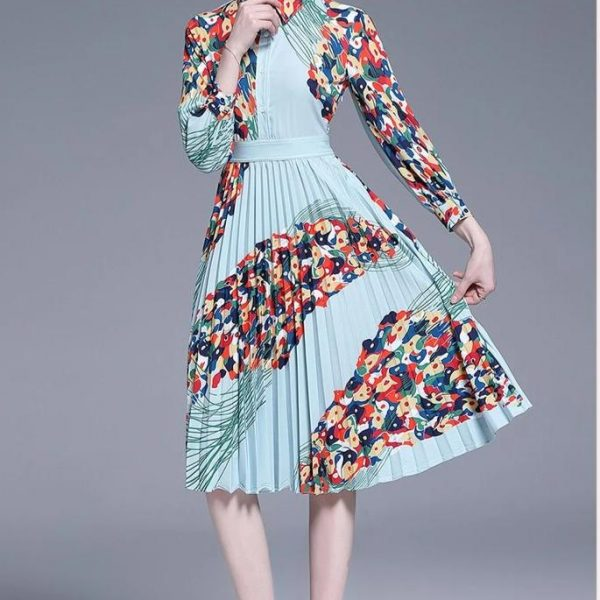 Runway Designer women's fashion casual turn-down collar knee-length dress spring and summer pleated print casual woman dresses