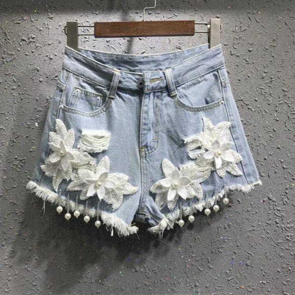 Beaded flower tassel hole denim shorts female high waist slim summer hot shorts for women