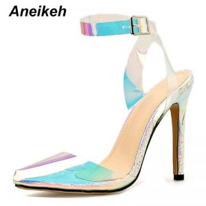 Aneikeh Women Sandals PVC Pointed Toe Clear Transparent High Heel Pumps Stilettos 2020 Slingback Wedding Dress Shoes Summer Shoe