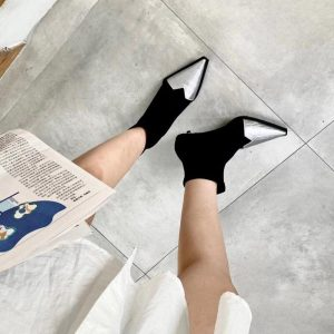 Sock Boots for Women Fashion Pointed Toe Slip On Thin Low Heels Stretch Boots Elastic Band Elegant Autumn Female Black Boots