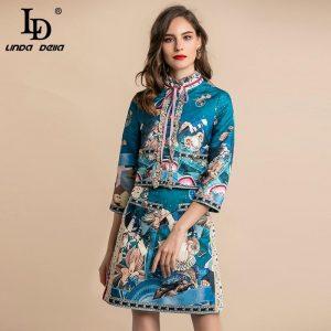 LD LINDA DELLA Autumn Fashion Designer Women's Suits Ladies Work Wear Elegant Party Vintage Skirts 2 Two Pieces Set