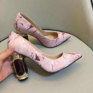 Square Rhinestone Heel Pink Pumps Slip-on Pointed Toe High Heel Formal Shoes Women Evening Party Shoes