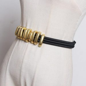 [EAM]  Black Elastic Band Split Joint Metal Circle Long Belt Personality Women New Fashion Tide All-match Spring 2020 1R113