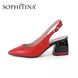 SOPHITINA Summer New Women Sandals Pointed Toe Square Heel High Back Strap Shoes Metal Decoration Sheepskin Mature Sandals C585