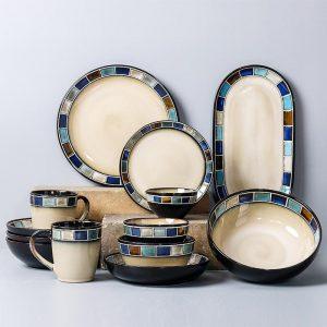 American Ceramics Dishes Set  Mosaic Stripes Decoration Steak Plate  Kiln Change Glaze Process Large Household Salad Bowl