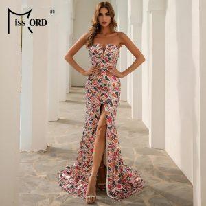 Missord Women Sexy Strapless Sequin Multi Evening Party Dress Off Shoulder Elegant Summer Dress High Split Maxi Dress FT20131-1