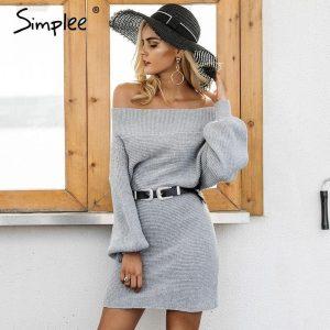 Simplee Off shoulder long knitted sweater dress Women elegant loose winter pullover dress Autumn batw sleeve gray sweater jumper