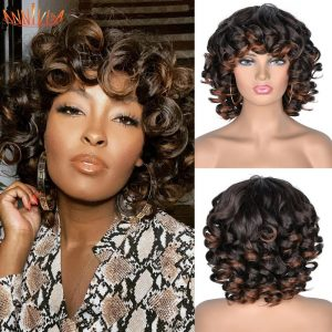 Short Hair Afro Kinky Curly Wigs With Bangs For Black Women Synthetic African Ombre Glueless Cosplay Wigs High Temperature