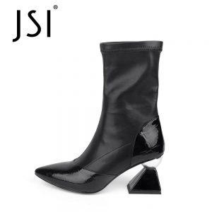 JSI Mid-calf Winter Sexy Boots Woman Pointed Genuine Leather Patchwork Boots Ladies Strange High Heel Short Boots JC780