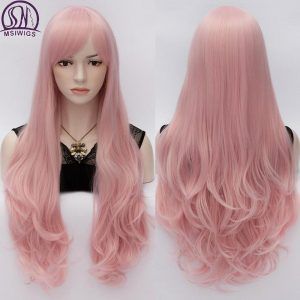 MSIWIGS Long Pink Natural Wave Cosplay Wigs African American for Women Heat Resistant Synthetic Fake Hair Piece with Side Bangs