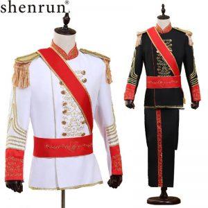 Shenrun Men Suits Military Uniform Palace Prince Suit Marshal Soldier Guard Dress Stage Costumes Music Drum Singer Black White