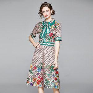 Banulin Fashion Runway Design Summer Dress Women's Short Sleeve Turn Down Neck Bow Letter Floral Print Midi Dress Vestidos