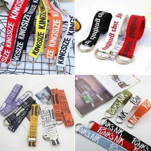 Punk Canvas Belt Women Men Harajuku Letter Flame Printing Long Waist Strap D Ring Buckle Black White Female Trouser Jeans Belts
