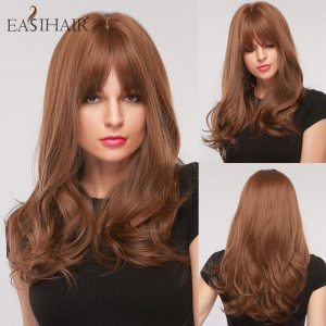 EASIHAIR Long Brown Women's Wigs with Bangs Water Wave Synthetic Hair Wigs Daily Heat Resistant Wig