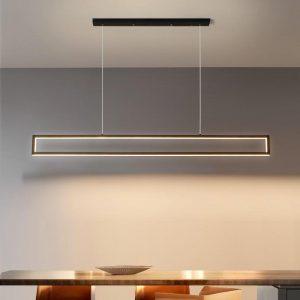 LED Chandelier Modern Nordic Minimalist Black Long Pendant Lamp For Dining Room Coffee Shop Bar Office Decoration Hanging Light