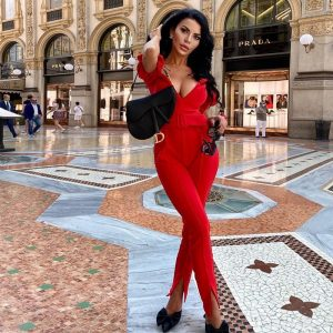 Ocstrade Sexy Off Shoulder Party Jumpsuit for Women Summer 2020 New Arrival One Piece Red Bodycon Jumpsuit Club Outfits