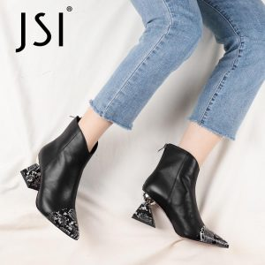 JSI Ankle Boots Snake Pattern Woman Patchwork Genuine Leather Pointed Toe Ankle Boots Ladies High Strange Heel Boots JC799