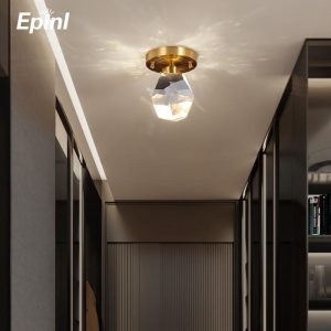 Epinl Crystal Ceiling Lamp Copper Living Room Bedroom Bar Modern Fashion Lamp Projection Luxury Aisle Christmas Party Home Decor
