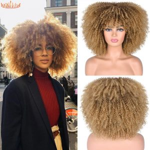 Short Hair Afro Kinky Curly Wig With Bangs For Black Women Synthetic Mixed Brown And Blonde Glueless Cosplay Wigs Heat Resistant