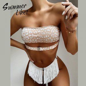 Sexy bikini push up bandeau swimwear 2020 female Leopard print swimsuit women tassel bathing suit bathers bodysuit buquini Mujer