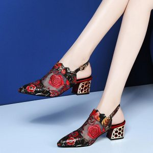 2020 High Heels Sandals Women Pumps Woman Mesh Shoes Pointed toe Square Heel Buckle Strap Ethnic Embroidery Flower Handmade RED