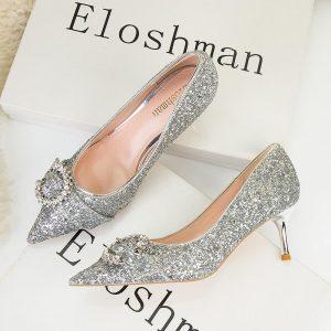 Silver Heels 2021 Sexy Wedding Shoes Bridal Shoes Female Drill Rhinestone Crystal Shoes Stiletto Pointed Fashion High Heels Pump