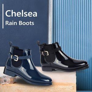 MaxMuxun Women's  Rubber Ankle Rain Boots Black Fringe Causal Snow Booties Female Waterproof Slip On Chunky Footwear Shoes