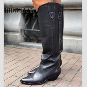 2020 Western boots black Leather knee high boots for women pointed toe winter long boots women chunky heels cowboy knight boots