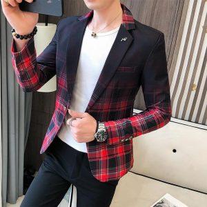 Fashion New Men's Blazer Gradient Check Slim Blazer Masculino 2020 Spring Men's Wedding Stage Party Formal Dress Suit Blazer Men